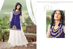 Traditional Looking Blue & White Colour Soft Net Embroidery Designer Unstitched Gown