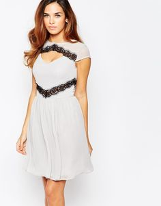 Image 1 ofElise Ryan Skater Dress With Contast Lace Trim