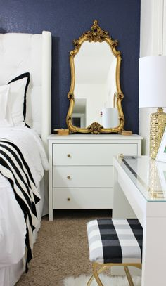 Side Table with Gold Mirror - Love the color combo - Click to see the whole room!