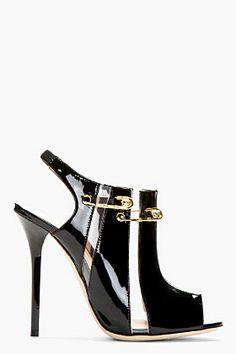 VERSUS Black Patent Leather Cut-Out Peep Toe Heels