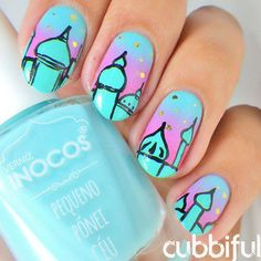 Moscow Skyline Nails nail art by Cubbiful