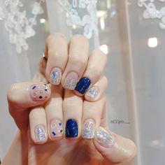 Korean Nail Art, Korean Nails, Nail Deaigns, Nail Polish, Nail Swag, Graduation Nails, Beauty Games, Nail Jewelry, Xmas Nails