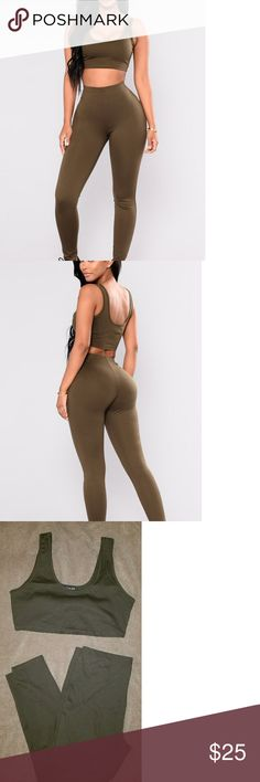 🎉JUST IN🎉Fashion Nova Set NWT NWT Fashion Nova set Size 1XL Olive color  Thick material  Active Set Basic lounge wear Ponte fabric Sports bra (was large around rib cage but was to small for my cup size) 67% viscose 28% nylon 5% Spandex Fashion Nova Pants Leggings