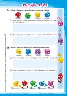 Australian Curriculum Mathematics. Number and Algebra Worksheet - Year 3. Dice activitys. Free printable.