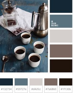Warm stone blue colours - kitchen? Think it will go well with the industrial style table & chairs :)
