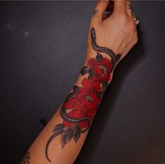 Dope Tattoos For Women, Black Girls With Tattoos, Badass Tattoos, Sleeve Tattoos For Women, Small Girly Tattoos, Tiny Foot Tattoos, Arm Sleeve Tattoos, Red Ink Tattoos, Forarm Tattoos