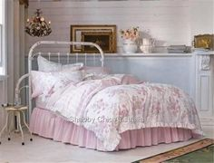 Rachel Ashwell Simply Shabby Chic Pink Rose Queen Doona Duvet Quilt Cover Set Nw