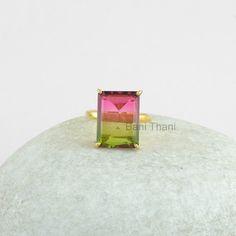 Silver Ring, Prong Set Ring, Watermelon Tourmaline Bi Doublet Quartz 12x16mm Gemstone Ring, Gold Plated Ring, 925 Silver Ring #1064