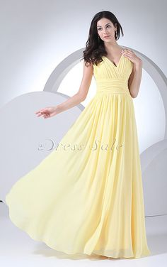 a5ae8365ae8 Ruching Decorate Bodice Light Yellow Chiffon V-neck 2014 Prom Dress Long.  Sue Ingledew · lemon bridesmaid dresses