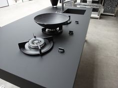 Kitchen, Nanotech Countertop In Black With Built In Gas Stove And  Square Nanotech Sink And Stainless Steel Faucet ~ Hot and Cheap Countertops