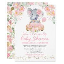 Shop Elephant Drive By Baby Shower Invitation Pink created by PixelPerfectionParty. Baby Shower Invitation Cards, Pink Invitations, Baby Shower Invitations For Boys, Tarjetas Baby Shower Niña, Elephant Baby Showers, Baby Elephant, Elephant Gifts, Virtual Baby Shower, Baby Shower Decorations For Boys