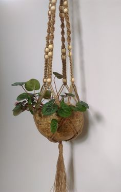 """KMNatural Macrame Plant Hanger Handmade 39"""" Hemp&Beads M23P14. This product is handmade from high quality Bulgarian natural hemp, decorated with wooden beads. This is a perfect choice to make a beautiful addition in your room or garden. And to save space. The basket of this beautiful macrame plant hanger is universal - it can easily handle big and normal to small types of pots or bowls with openings of 6 - 9.9 inches diameter and 6-7 inches tall. You can see different sized pots on the..."""