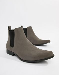 ae682a0af3f98 ASOS DESIGN Wide Fit chelsea boots in gray faux suede at asos.com