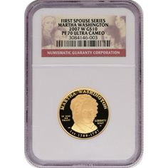 2007-W First Spouse Martha Washington Half Ounce Gold Coin PF70 UC NGC