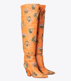 Lila Embroidered Over-the-Knee Scrunch Boot: Women's Shoes | Tory Burch St Vincent Grenadines, Shoe Boots, Women's Shoes, British Indian, St Kitts And Nevis, Uganda, Over The Knee Boots, Tory Burch, Clothes