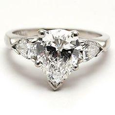 ECO FRIENDLY ESTATE PEAR CUT DIAMOND ENGAGEMENT RING SOLID PLATINUM