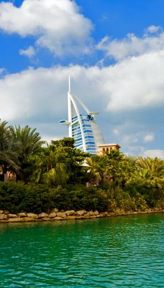 Romantic View of Dubai Old town with Burj Al Arab in the background