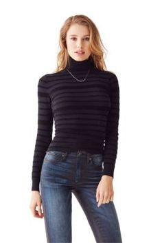 Long-Sleeve Striped Mixed-Yarn Pullover | GUESS.com
