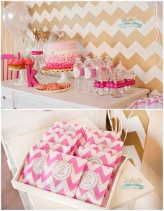 Una preciosa mesa de dulces para una fiesta rosa y oro / A lovely sweet table for a pink and gold party girls 2nd birthday ideas, pink and gold birthday party, birthday parties, 2nd birthday party ideas, pink chevron birthday, pink gold birthday party, pink and gold chevron, gold pink birthday, 2nd birthday cakes girls