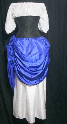 Tucked Steampunk Skirt - Royal Blue with drawstring waist. $59.00, via Etsy.