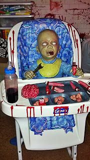 Hungry Zombie baby! Zombie nursery scene for Halloween Oh.my.god. I am totally saving our high chair!