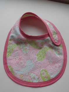 Girl Baby Bib - Pink, Blue and Green paisley with bias tape