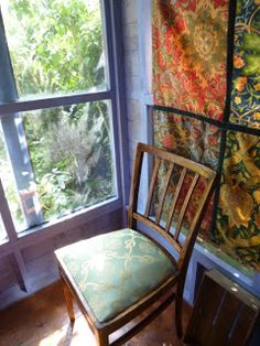 The1930s house: Sneak preview of my summerhouse, revamped shed, writer's refuge... William Morris hanging and 1940 utility chair