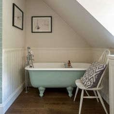 Small Bathroom With Roll Top Bath And Sloping Ceiling regarding Bathroom Ideas Roll Top Bath - Best Home & Party Decoration Ideas Small Attic Bathroom, Mold In Bathroom, Loft Bathroom, Upstairs Bathrooms, Budget Bathroom, Grey Bathrooms, Bathroom Ideas, Sloped Ceiling Bathroom, Compact Bathroom