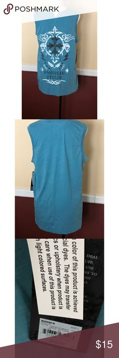 NWT men's muscle shirt Helix brand in turquoise, size large, NWT. 55% cotton, 45% polyester. Machine wash, tumble dry. MSRP $25 plus tax. Helix Shirts Tank Tops