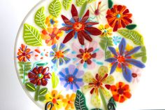 11 colorful flower themed fused glass bowl. by AtkinsGlassandCanes