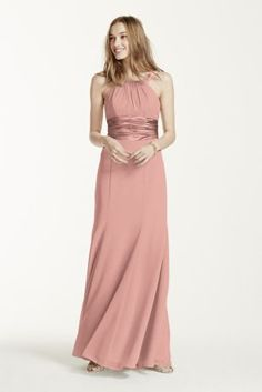 This long chiffon halter is a youthful and flirty dress.   The waist gathers into a side cascade helping to keep the silhouette flattering.  Pleating at the bust adds shape.  Available inextra length as style 4XLF12732.  Fully lined. Back zip. Imported polyester. Dry clean only.  Get inspired by our colors.  Sizes and colors are available in limited stores and with limited availability.  To protect your dress, try our Non Woven Garment Bag.