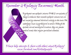 November is Epilepsy Awareness Month...because it matters. Here is our fact of the day for November 8th. Everyday there will be a new fact. Please ✓Like ✓Comment ✓Share to help spread Epilepsy Awareness .#epilepsy #epilepsyawareness  For more information on PNES, please visit http://hsc.usf.edu/com/epilepsy/pnesbrochure.pdf