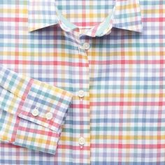 Large multi check Oxford semi-fitted shirt | Women's shirts from Charles Tyrwhitt, Jermyn Street, London