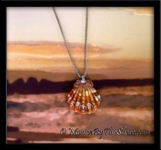 Deep pink, orange, red Hawaiian Sunrise Shell! A smaller sized shell at 7/8 inch with a dainty silver finding, on an 18 inch sterling silver box chain necklace. A beautifully colored seashell that will get plenty of compliments! A real treasure of a shell to be worn with Aloha and a smile!  An original Sunrise Shell jewelry creation by MonicaByTheShore of Haleiwa, Hawaii. Hand crafted rare seashell designs made with Aloha on Oahu's beautiful North Shore.