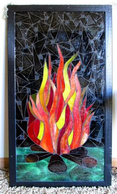Mosaic Glass, Mosaic Tiles, Stained Glass, Orange Yellow, Yellow Black, Black Grout, Llamas, Black Backgrounds, Colored Pencils