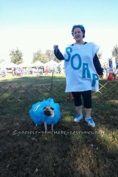This year I thought it would be fun to dress up with my dog, so we chose to be soap and a loofah. The costumes were easy.  Loofah: I made a body sui...