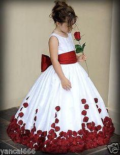 Rose Petals Flower Girl Dress Wedding Bridesmaid Party Dress size:1-15