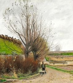 Laurits Andersen Ring (1854-1933): Autumn weather. A man with a wheelbarrow on a path, 1903