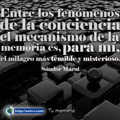 Entre los fenómenos de la conciencia, el mecanismo de la memoria es, para mí, el milagro más temible y misterioso. Sándor Márai http://selvv.com/tu-memoria/ #Selvv