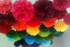 50 Tissue Paper Pom Poms-- Choose your colors-- Anniversary/ Birthday Party/ Wedding/ Reception Decorations. $115.00, via Etsy.