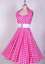 mobile site-Free shipping PINK and RED Polka dot 50's Rockabilly Dress Swing Vintage style Retro pinup