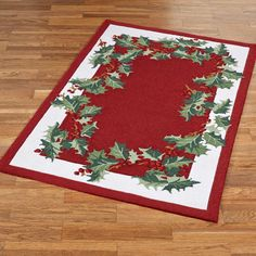 Holly Border Christmas Rug Red
