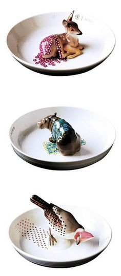 """Each one is so sweet, but the hippopotamus is the most darling.""""Cute animal bowls made by Hella Jongerius"""""""