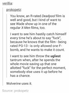 I would want to see this