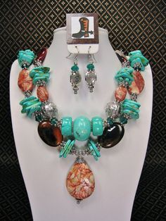 TURQUOISE / BROWN Statement Chunky Western by CayaCowgirlCreations, $59.50