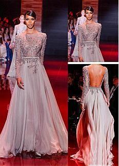 Gorgeous Tulle & Satin Chiffon Bateau Neckline Floor-length A-line Celebrity Prom Dress