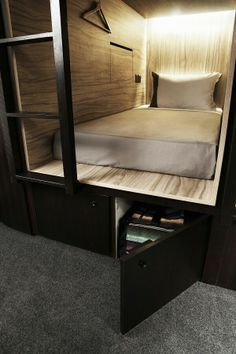 The Pod Boutique Capsule Hotel - Singapore The. The Pod Boutique Capsule Hotel - Singapore The. Small Space Living, Small Spaces, Loft Spaces, Small Rooms, Moodboard Interior, Minimalistic Design, Sleeping Pods, Capsule Hotel, Bunk Bed Designs