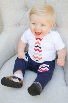 Chevron Baby Boy Tie Onesie children custom baby by WeChooseJoy, $15.50
