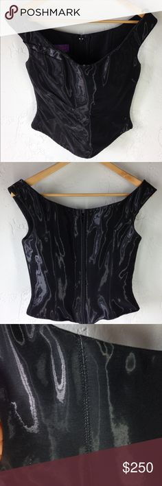 All About Eve couture ruched corset top shiny Sz S Gorgeous, sexy couture corset top by All About Eve.  This top is simply breathtaking. It is handmade in Germany.   Unique artistry and exquisite attention to detail. Completely wonderful. Ruched, gathered wool blend fabric with a shiny wet-look finish.  Tip of the shoulder straps.  Boned and fitted to give you an amazing waistline.   Simply spectacular; there just are no words!   Preowned – excellent condition. all about eve – hand made in…