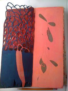Blue and pink by Jennifer Brook - Hand-bound sketchbook | Arches, parchment, ink, graphite, wax |   38 x 15 x 2cm  2008 http://www.flickr.com/photos/jenniferbrook/sets/72157619132753425